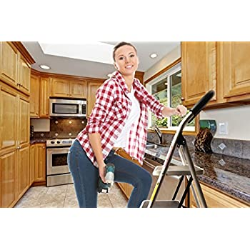 LavoHome 330lbs Upper Reach Reinforced Metal Folding Step-Ladder Stool Household Kitchen Stool Folds for Easy Storage (3 Step)