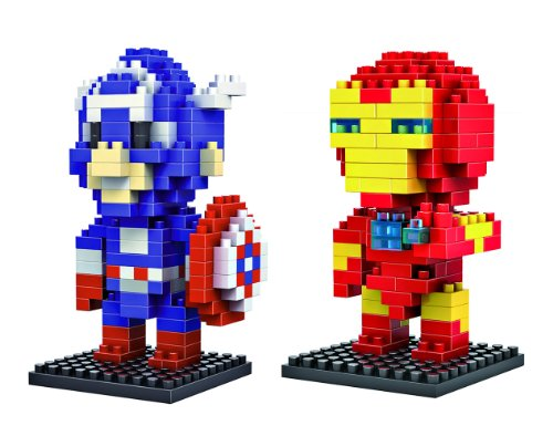 LOZ Diamond Blocks Marvel Heroes Iron Man and Captain America 2 Pcs Set - 1