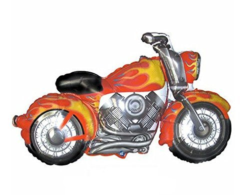 "Flaming Motorcycle Shaped Mylar Balloon 36"" - 1"