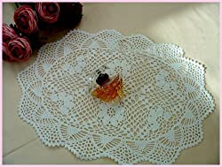 Vintage Hand Crochet Oval Cotton Placemat/doily