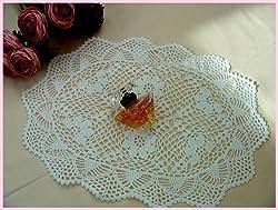 Vintage Hand Crochet Oval Cotton Placemat/doily