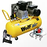 Wolf Dakota 90 Litre, 3HP, 14CFM, 240v, MWP 150psi, 10BAR Twin Cylinder Pump Belt Driven Air Compressor Complete with 5 Piece Air Tool Kit: 5m Hose, Gravity Feed Spray Gun, Tyre Inflator, Long Nozzle Sprayer and Blow Gun + Air Nailer