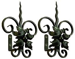 Metal Tieback in Black - Floral w Spear - Set of 2 (Gunmetal)