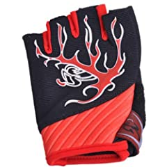 Fingerless Mens Outdoor Cycling Riding Gloves Short Finger red gloves by MAYSU