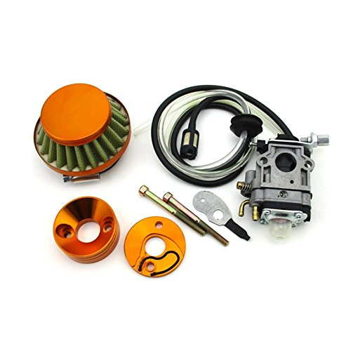 TC-Motor Gold Racing Carburetor + Air Filter + Adapter Vstack + Fuel Hose For 23 33 43cc Big Foot Goped Blade Scooter 47c 49cc Pocket Bike Mini Dirt ATV
