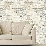 Debona-Papier-peint-Motif-cartes-postales-et-calligraphie-vintage-NEUTRAL-CREAM-1260