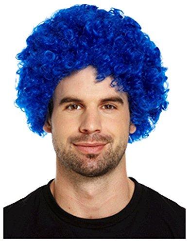 PAMS-PARRUCCA DA CLOWN CON CAPELLI RICCI-FUNKY MULTICOLORE DA DISCOTECA ANNI '70, UNISEX Blue Wig