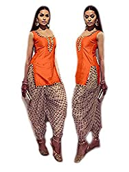 khazanakart orange cotton designer dress materials for women /bollywood dress materials /partywear dresses