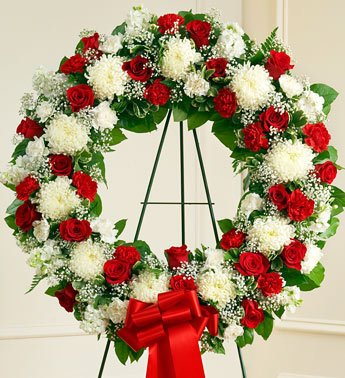 1800Flowers - Serene Blessings Standing Wreath - Red & White - Large front-737563