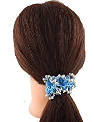 Anuradha Art Blue Colour Styled With Beads Classy Look Hair Accessories Hair Band Stylish Rubber Band For Women...