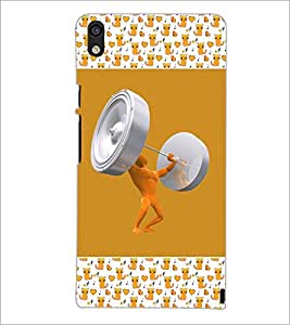 PrintDhaba Weight Lifting D-3073 Back Case Cover for HUAWEI ASCEND P6 (Multi-Coloured)