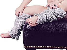 Huggalugs Baby and Toddler Girls Silver Sparkle Legruffle Legwarmers