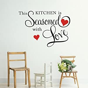 New Wayzon THIS KITCHEN IS SEASONED WITH LOVE Wall Quote Sticker ART Home KITCHEN Decor