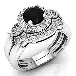 1.30 Carat (ctw) 10K White Gold Black & White Diamond Bridal Halo Engagement Ring Set (Size 7)