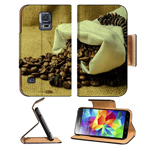 Coffee Beans In Burlap Sack 3Dcom Samsung Galaxy S5 Flip Cover Case With Card Holder Customized Made To Order Support Ready Premium Deluxe Pu Leather