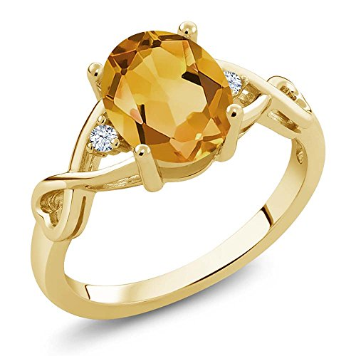 1.55 Ct Oval Yellow Citrine and White Topaz 18K Yellow Gold Plated Silver Ring
