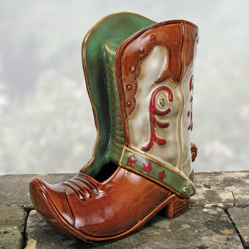 Nature's Garden Cowboy Boot Tabletop Garden Fountain, Brown