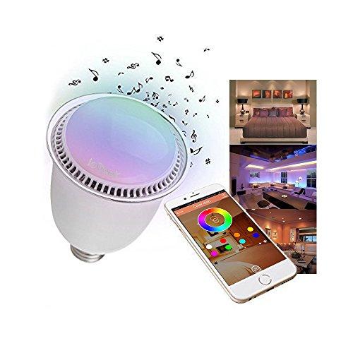 ieGeek Lampadina Smart Senza fili Wireless Bluetooth 5W E27/E26 LED Altoparlante integrato iPhone iPad Android Samsung HTC Motorola Colorazione regolabile tante tonalità [Nuova Versione Bianco]