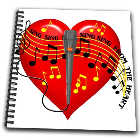 Db_11618_2 Dream Essence Designs Music - Large Red Heart, Musical Notes, Microphone, Sing From The Heart Text, Light Background - Drawing Book - Memory Book 12 X 12 Inch