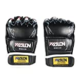 Accmart Leather Gel Boxing Gloves for Training Fighting Black(One Pair)