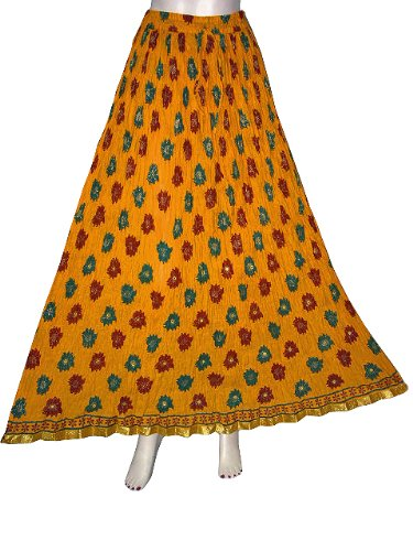 Bohemian Gypsy Crinkled Long Skirt Yellow Gold Red Green Block Print Women Skirts