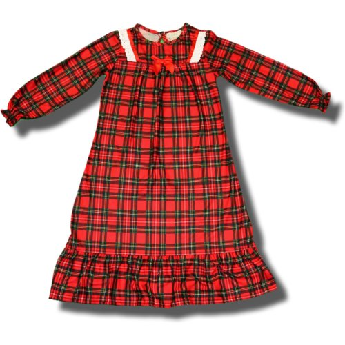 Holiday Red Plaid Flannel Nightgown With Ribbon And Lace For Toddler Girls - 3T front-1044560