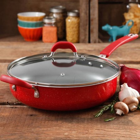 The Pioneer Woman Vintage Speckle Non-Stick Jumbo Cooker, Red (Kevin Dundon Steamer compare prices)