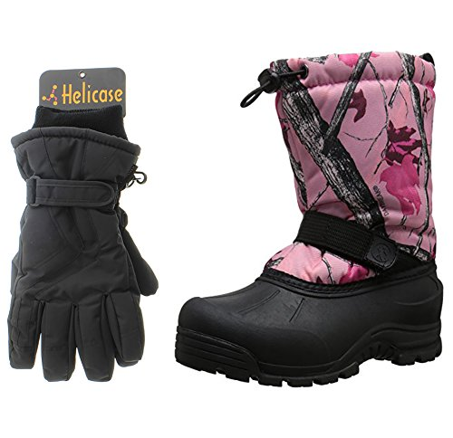 Northside Frosty Snow Boot, Pink Camo, 2 M US Little Kid with Matching Gloves (Pink Insulated Boots compare prices)