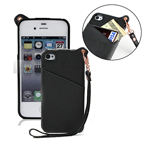 Pioneer Tech® Pu Leather W/ Lanyard Card Holder Pouch Case For Apple Iphone 4 4S - Yy (Black)