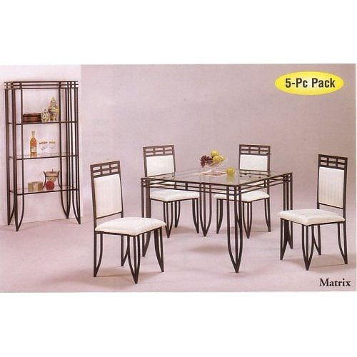 5pc Matrix Style Black Wrought Iron Square Dining Table W/4 Chairs Set