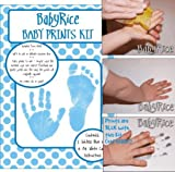BabyRice Baby Hand and Footprint Inkless Wipe Prints Kit (Blue)