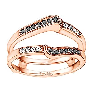 0.22CT Black and White Diamonds Gorgeous Knott Designed Ring Guard Enhancer set in Rose Gold Plated Sterling Silver (0.22CT TWT Black And G-H I2-I3 Diamonds)
