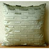 Taupe Green Ocean - 16x16 inches Square Decorative Throw Taupe Green Silk Pillow Covers with Pintucks