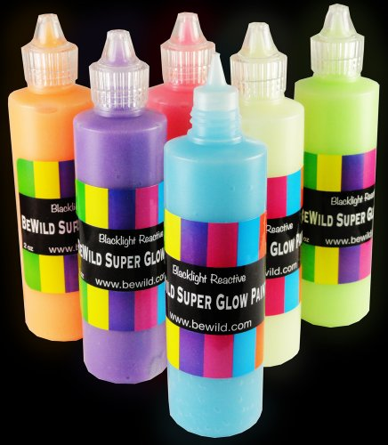 Next Generation SUPER Glow in the Dark (And Blacklight) Paint (Assorted Pack of 6)