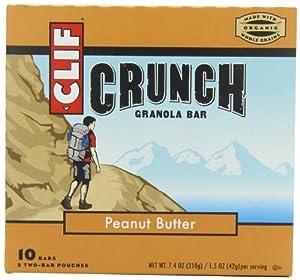 Clif Crunch Granola Bar, Peanut Butter, 5 Two-Bar Pouches 7.4 Ounce
