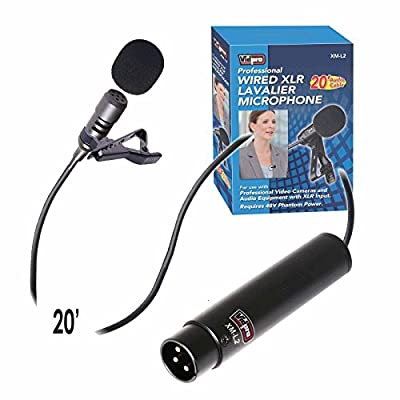 Vidpro XM-L2 XLR Lavalier Microphone for DSLRs, Camcorders & Video Cameras 20' Audio Cable