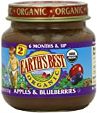 Earth's Best Organic Baby Food, Apple & Blueberry, 4 Ounce (Pack of 12)