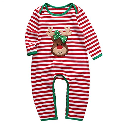Baby Boys Girls Christmas Long Sleeve Red White Striped Reindeer Romper (80(6-12M), A)