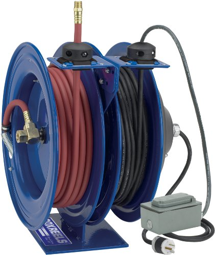 "Coxreels C-L350-5016-F Dual Purpose Electric/Air Spring Rewind Reels: 50' 3/8"" I.D. Hose, 300 Psi; G.F.C.I. Receptacle, 50' Cord, 16 Awg"