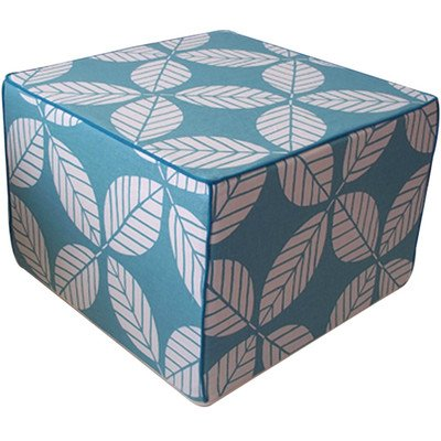 Jiti Tiki Leaves Square Linen Ottoman, 22 by 22 by 15-Inch, Teal
