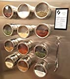 Magnetic Spice Rack (12 Spice Tins [3.4 oz. Jars], 30 Spice Labels, Measuring Spoons, Cooking Chart)