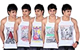 White Moon Printed Gym Vest- Pack of 5 (SKT_CAR_HER_RID_HRS_34)