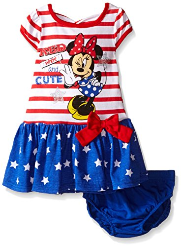 Disney Little Girls 2 Piece Minnie July 4th Americana Red, White and Cute Dress, 24 Months