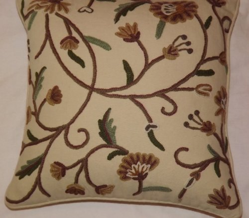 Crewel Pillow Sham Khusum Sweet Pine Cotton Duck1 (16X16)