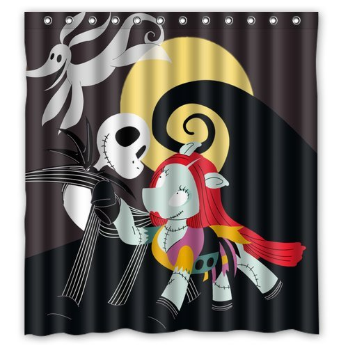 """Anhome Nightmare Before Christmas Cartoon Dog Skull And Moon Shower Curtain 66""""X 72"""""""