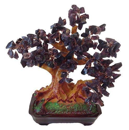 feng shui gl cksbaum 25 cm geldbaum bonsai pfennigbaum handarbeit stein lila amethyst. Black Bedroom Furniture Sets. Home Design Ideas