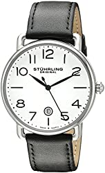 Stuhrling Original Men's 695.01 Symphony Swiss Quartz Date Black Leather Strap Watch