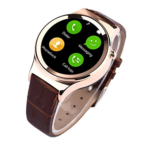 "Lincass Waterproof Smart Bluetooth 1.22"" Resolution of 240x240 Wristwatch Heart Rate Monitor Sports Pedometer Sleep Tacker Answering Phone Remote Camera Intelligent SIM TF Card Android System (Gold)"