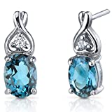 Classy Style 3.00 Carats London Blue Topaz Oval Cut Cubic Zirconia Earrings in Sterling Silver Rhodium Finish