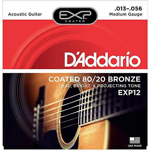 D'Addario Exp12 Coated 80/20 Bronze Acoustic Guitar Strings, Medium, 13-56